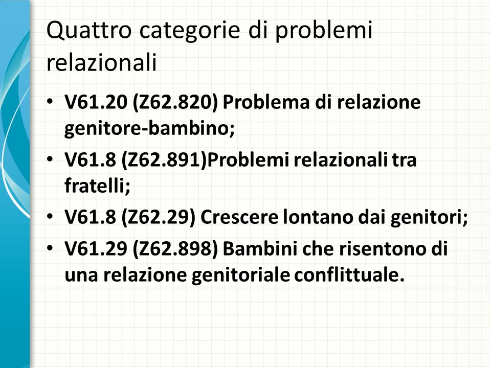Quattro categorie di problemi relazionali