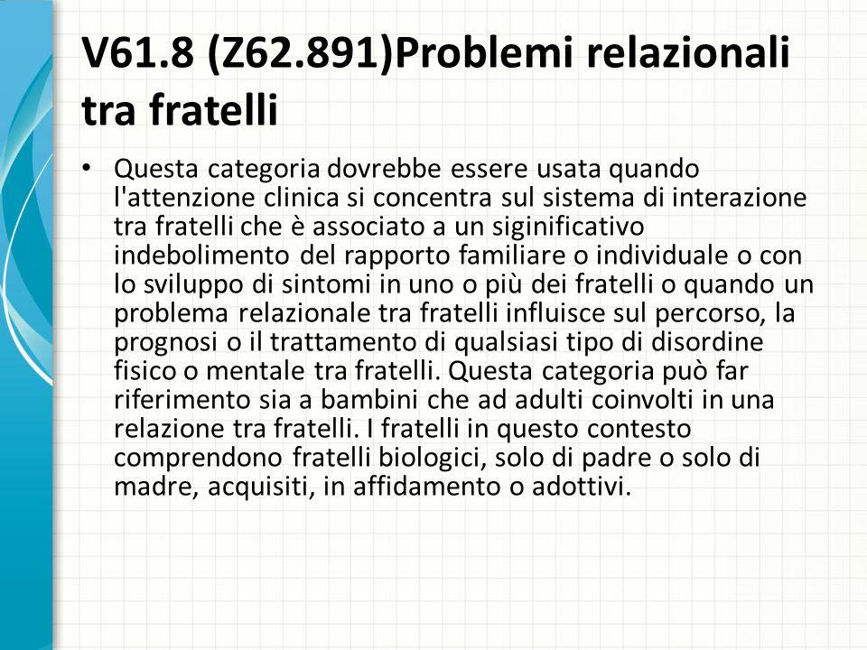 V61.8 (Z62.891)Problemi relazionali tra fratelli