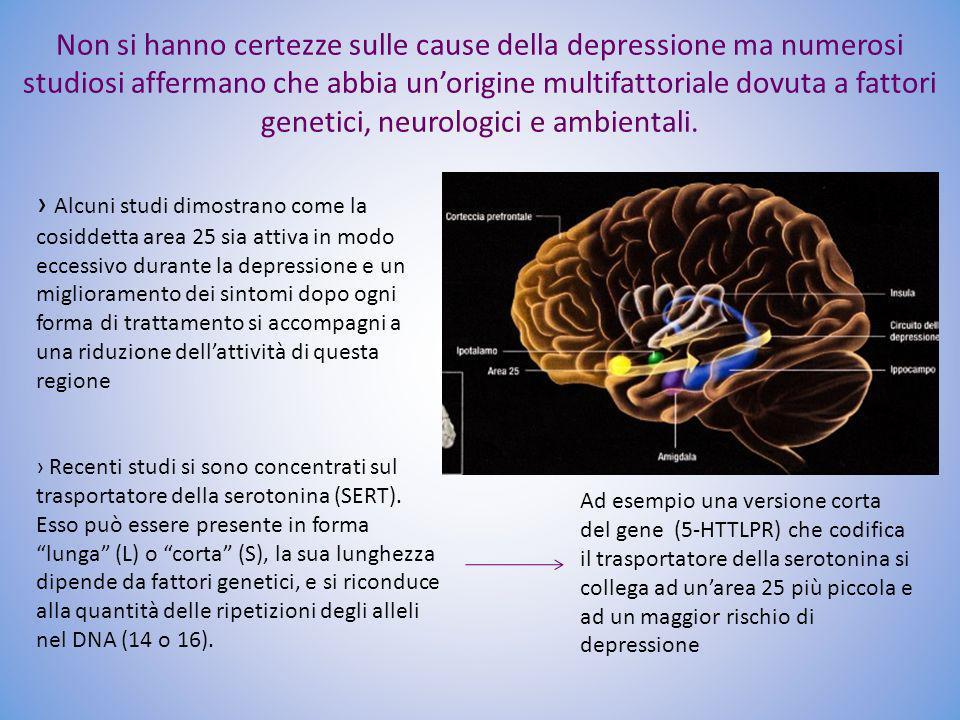 Non si hanno certezze sulle cause della depressione ma numerosi studiosi affermano che abbia un'origine multifattoriale dovuta a fattori genetici, neurologici e ambientali.
