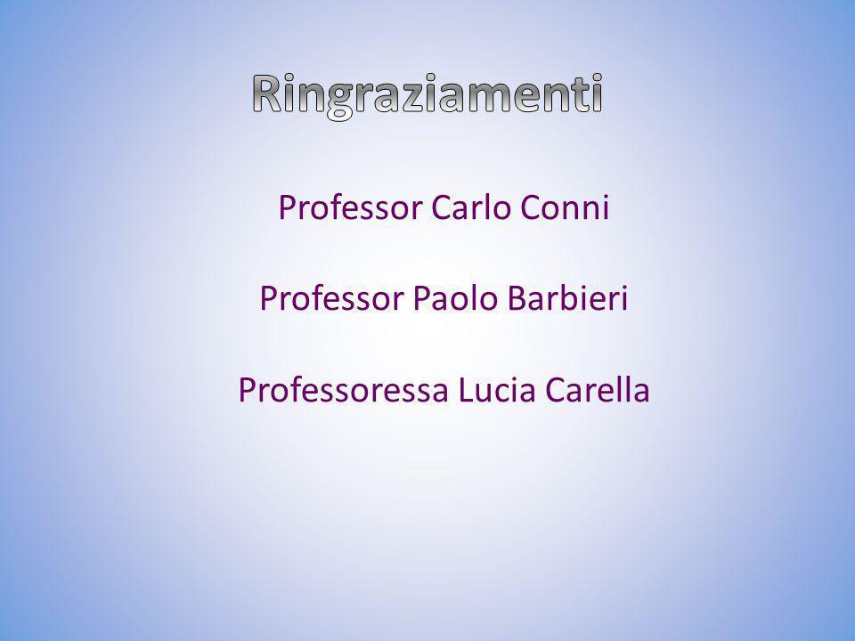Ringraziamenti Professor Carlo Conni Professor Paolo Barbieri