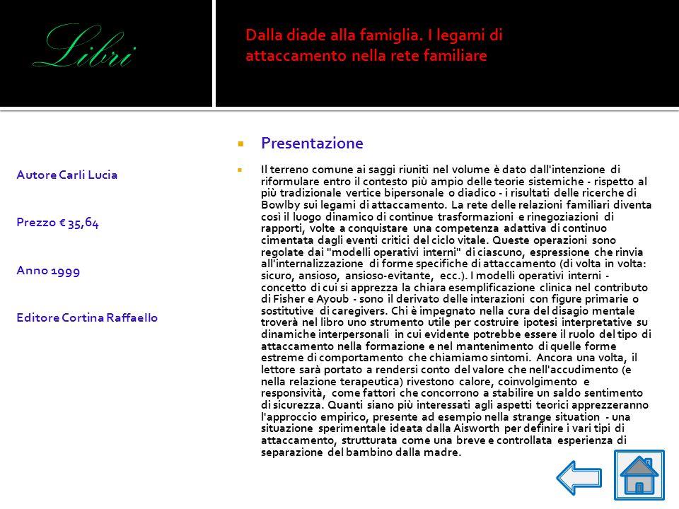LibriDalla diade alla famiglia. I legami di attaccamento nella rete familiare. Autore Carli Lucia. Prezzo € 35,64.