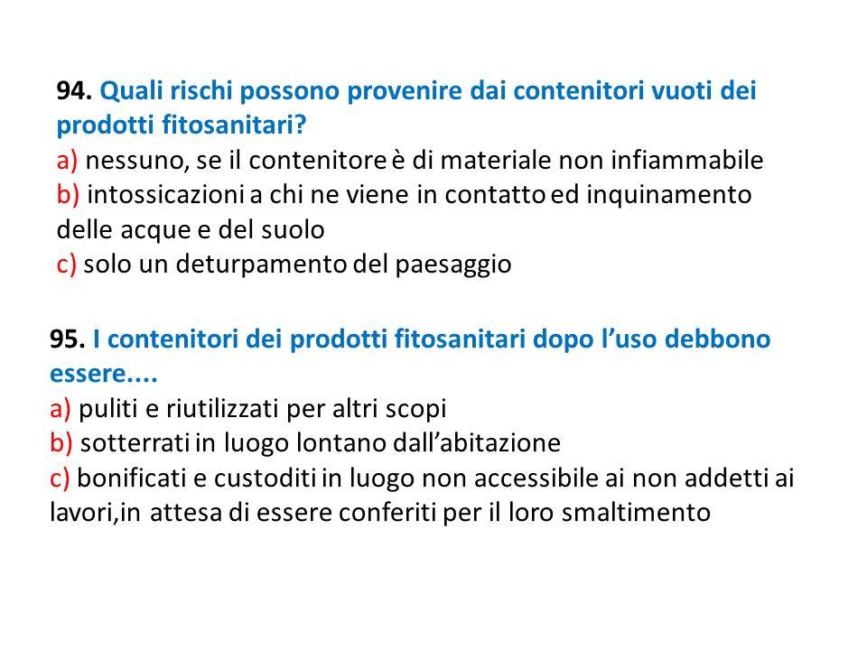 94. Quali rischi possono provenire dai contenitori vuoti dei prodotti fitosanitari