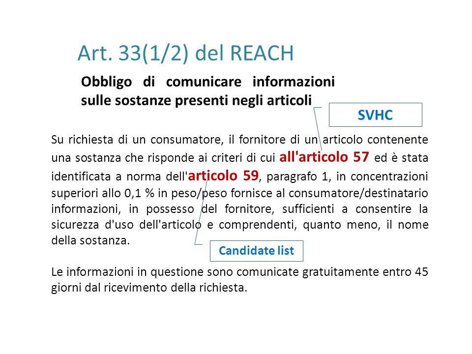 Art. 33(1/2) del REACH Obbligo di comunicare informazioni sulle sostanze presenti negli articoli. SVHC.