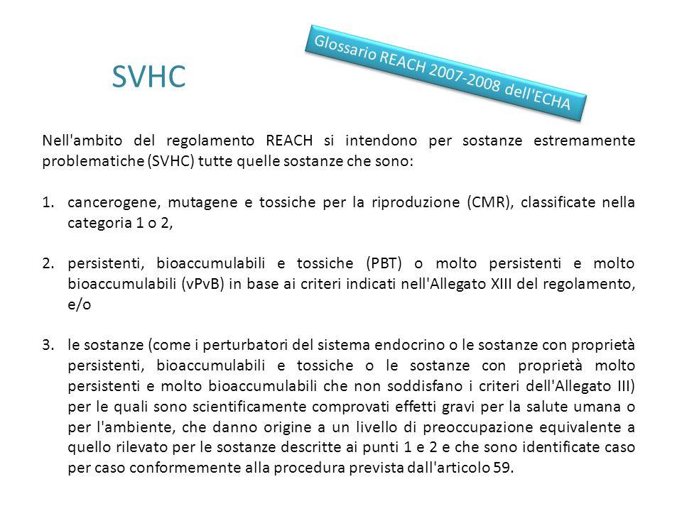 SVHC Glossario REACH 2007-2008 dell ECHA