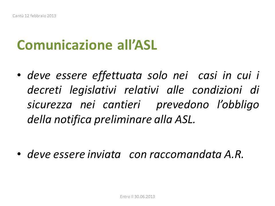 Comunicazione all'ASL