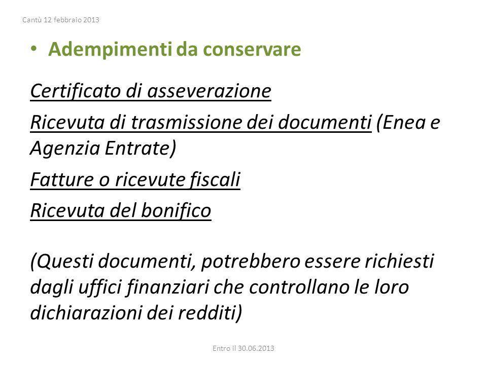 Adempimenti da conservare Certificato di asseverazione