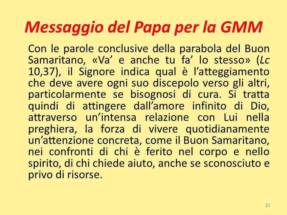 Messaggio del Papa per la GMM