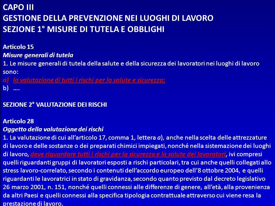GESTIONE DELLA PREVENZIONE NEI LUOGHI DI LAVORO