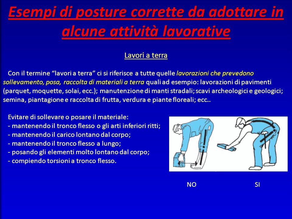 Esempi di posture corrette da adottare in alcune attività lavorative