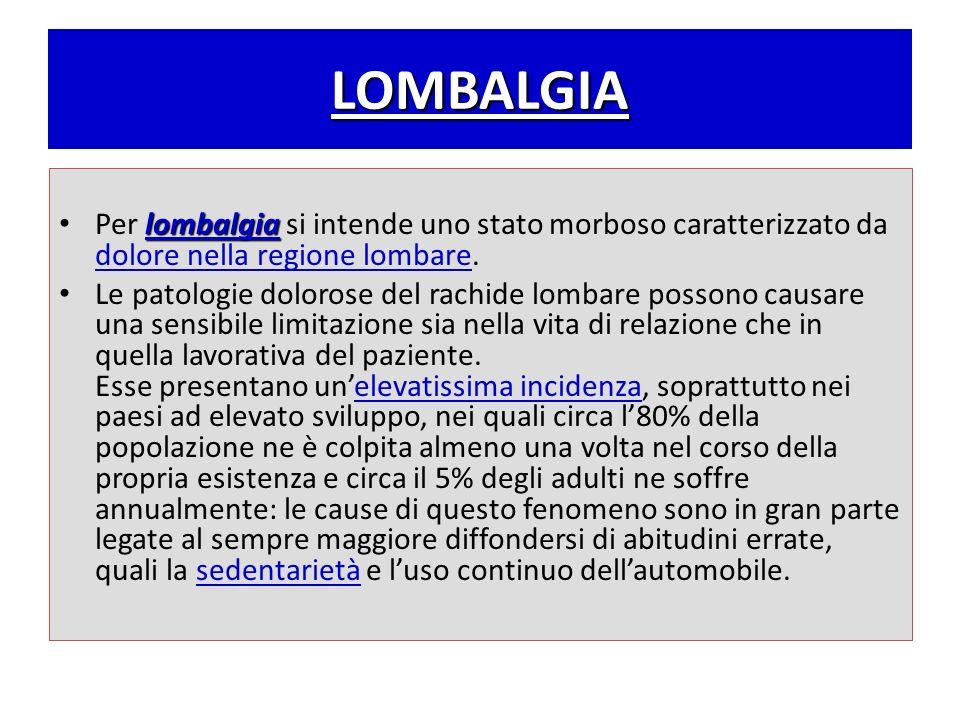 LOMBALGIA Per lombalgia si intende uno stato morboso caratterizzato da dolore nella regione lombare.