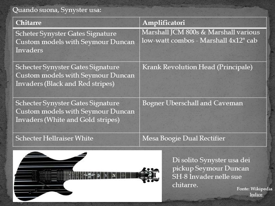 Quando suona, Synyster usa: Chitarre Amplificatori