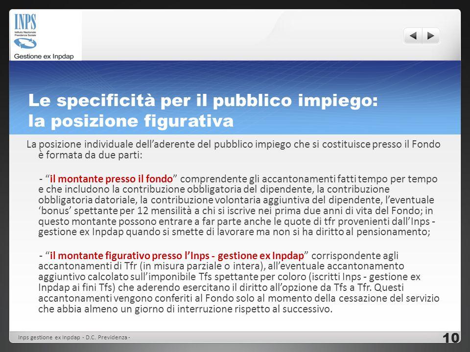 Le specificità per il pubblico impiego: la posizione figurativa