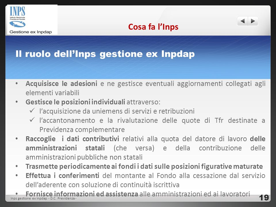 Il ruolo dell'Inps gestione ex Inpdap