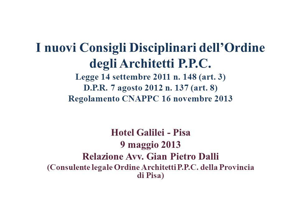 I nuovi Consigli Disciplinari dell'Ordine degli Architetti P. P. C