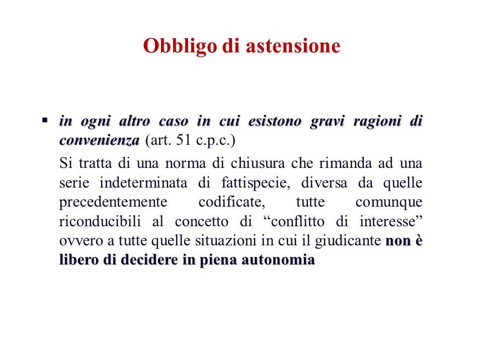 Obbligo di astensionein ogni altro caso in cui esistono gravi ragioni di convenienza (art. 51 c.p.c.)