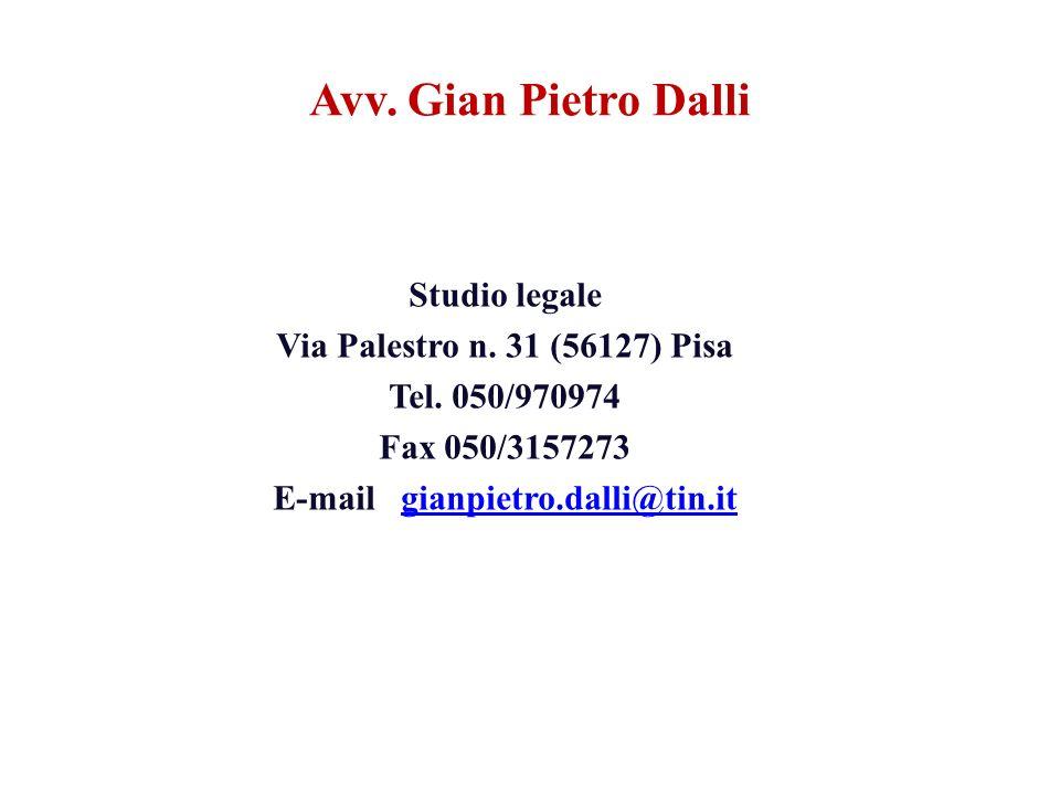Avv. Gian Pietro Dalli Studio legale Via Palestro n.