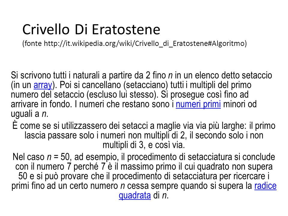Crivello Di Eratostene (fonte http://it. wikipedia