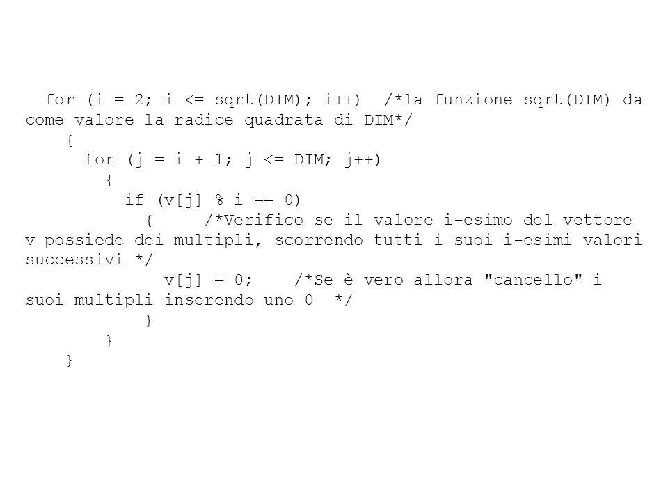 for (i = 2; i <= sqrt(DIM); i++) /