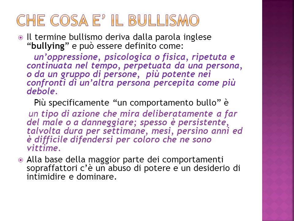 CHE Cosa E' IL BULLISMO Il termine bullismo deriva dalla parola inglese bullying e può essere definito come: