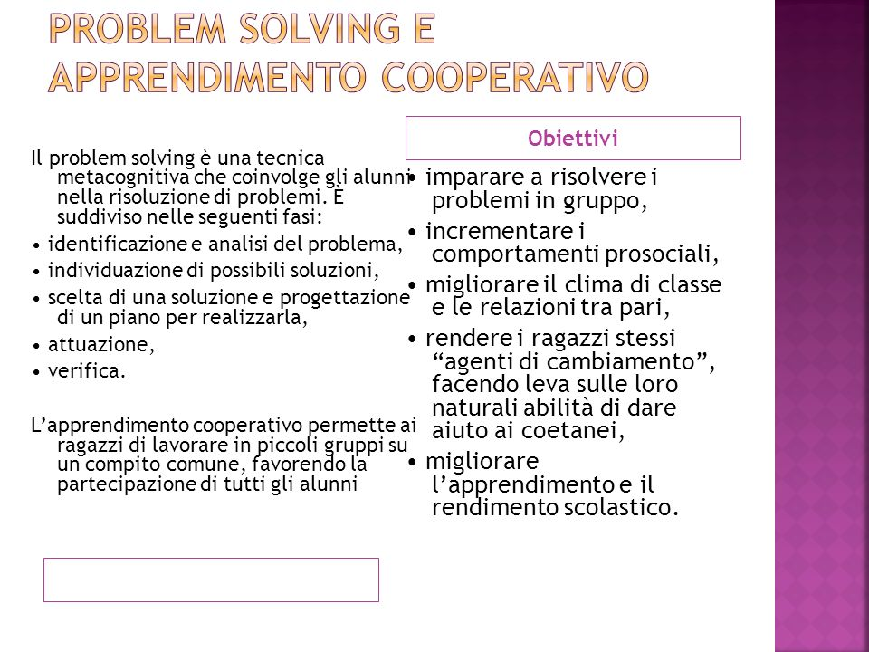 Problem solving e apprendimento cooperativo