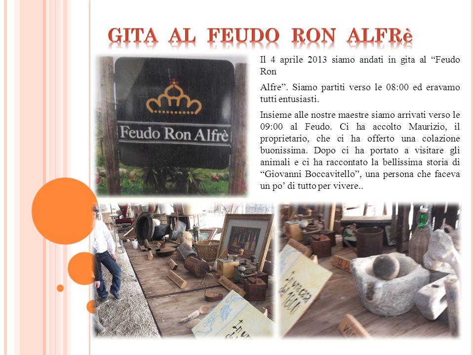 GITA AL FEUDO RON ALFRè Il 4 aprile 2013 siamo andati in gita al Feudo Ron.