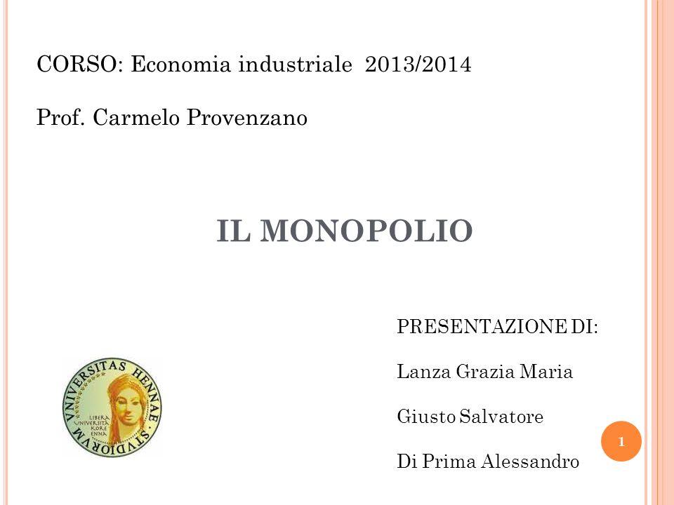 IL MONOPOLIO CORSO: Economia industriale 2013/2014