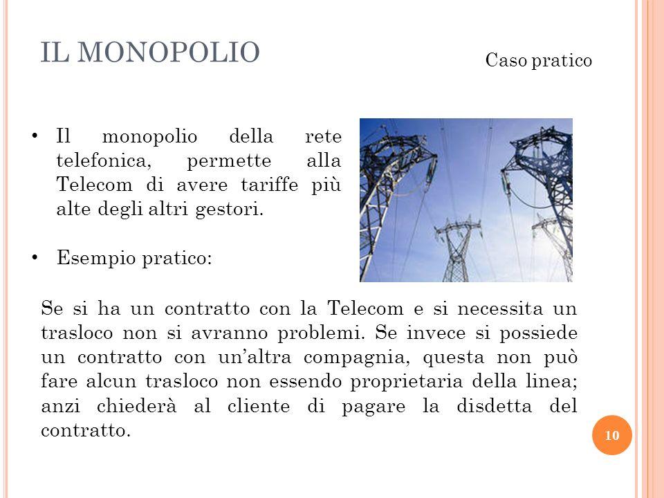 IL MONOPOLIO Caso pratico. Il monopolio della rete telefonica, permette alla Telecom di avere tariffe più alte degli altri gestori.