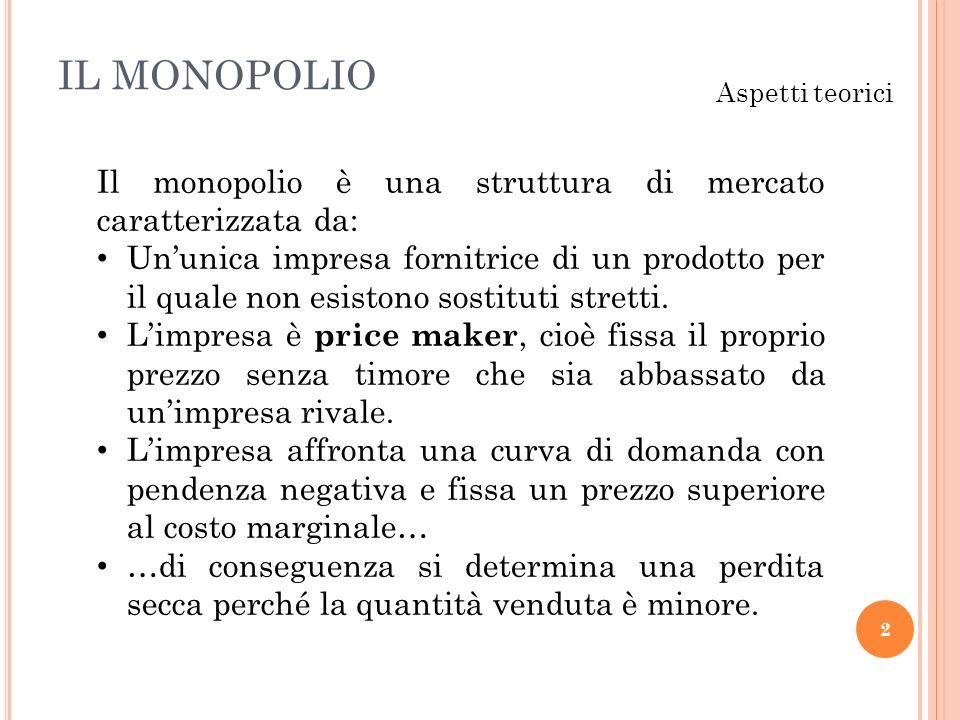 IL MONOPOLIO Aspetti teorici. Il monopolio è una struttura di mercato caratterizzata da: