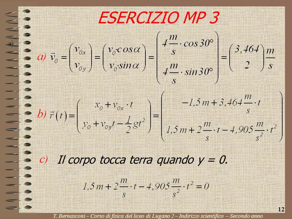 ESERCIZIO MP 3 Il corpo tocca terra quando y = 0. 12