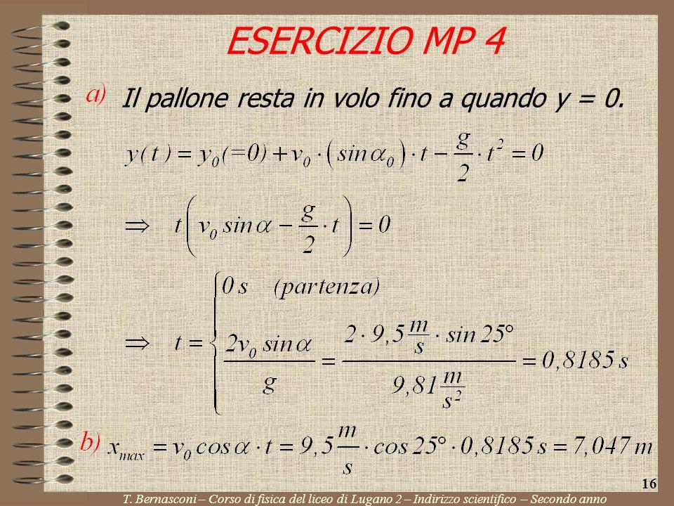 ESERCIZIO MP 4 Il pallone resta in volo fino a quando y = 0. 16
