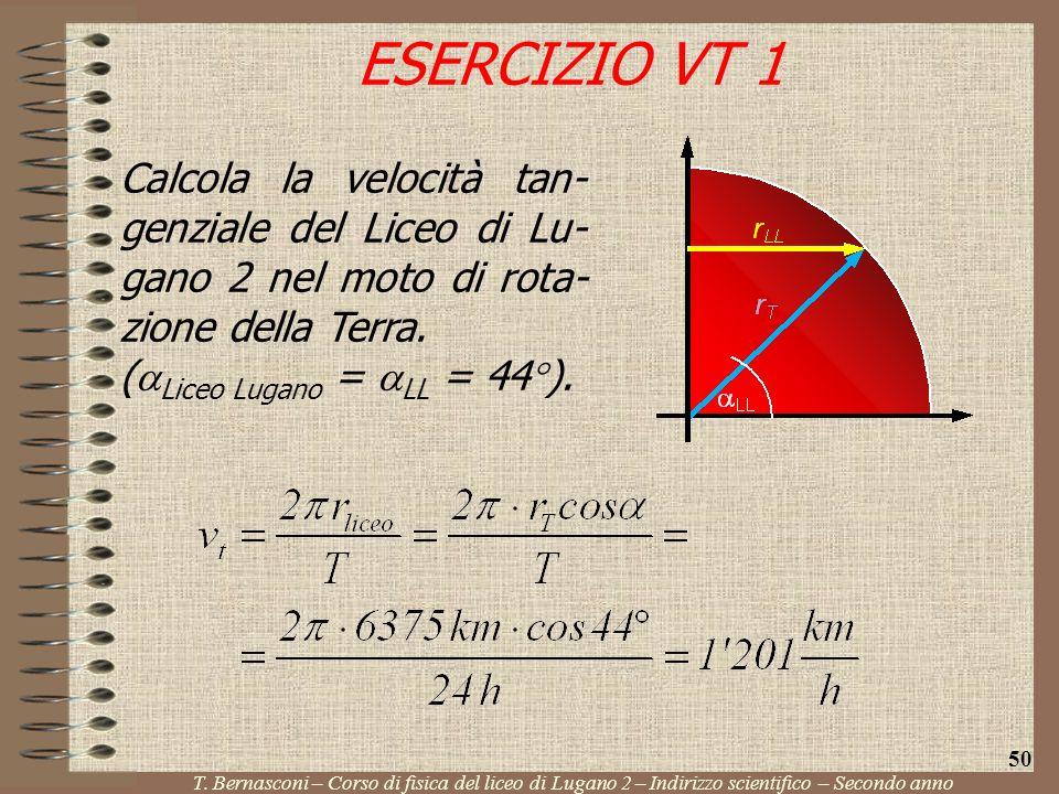 ESERCIZIO VT 1 Calcola la velocità tan-genziale del Liceo di Lu-gano 2 nel moto di rota-zione della Terra.