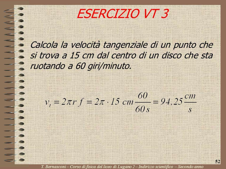 ESERCIZIO VT 3 Calcola la velocità tangenziale di un punto che si trova a 15 cm dal centro di un disco che sta ruotando a 60 giri/minuto.