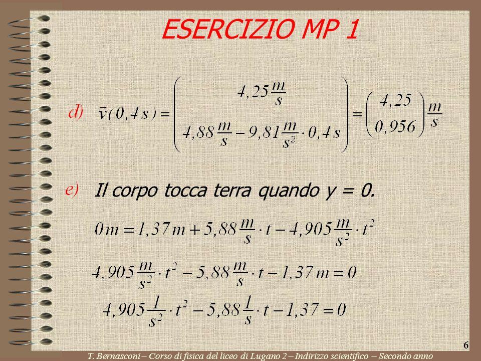 ESERCIZIO MP 1 Il corpo tocca terra quando y = 0. 6
