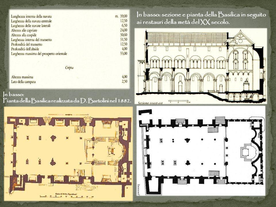 In basso: sezione e pianta della Basilica in seguito ai restauri della metà del XX secolo.
