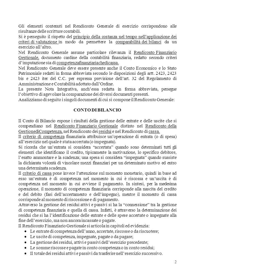 Gli elementi contenuti nel Rendiconto Generale di esercizio corrispondono alle risultanze delle scritture contabili.