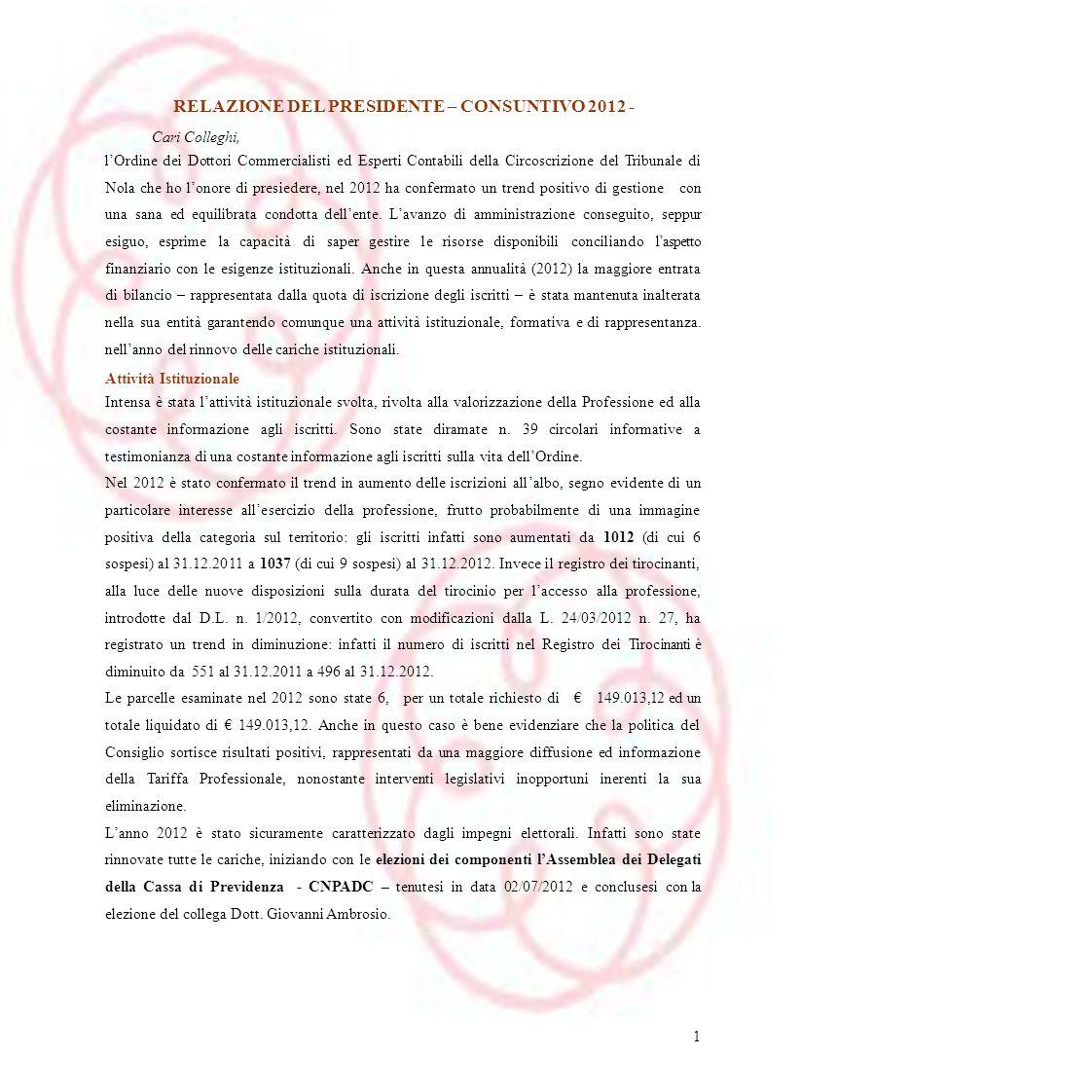 RELAZIONE DEL PRESIDENTE – CONSUNTIVO 2012 -