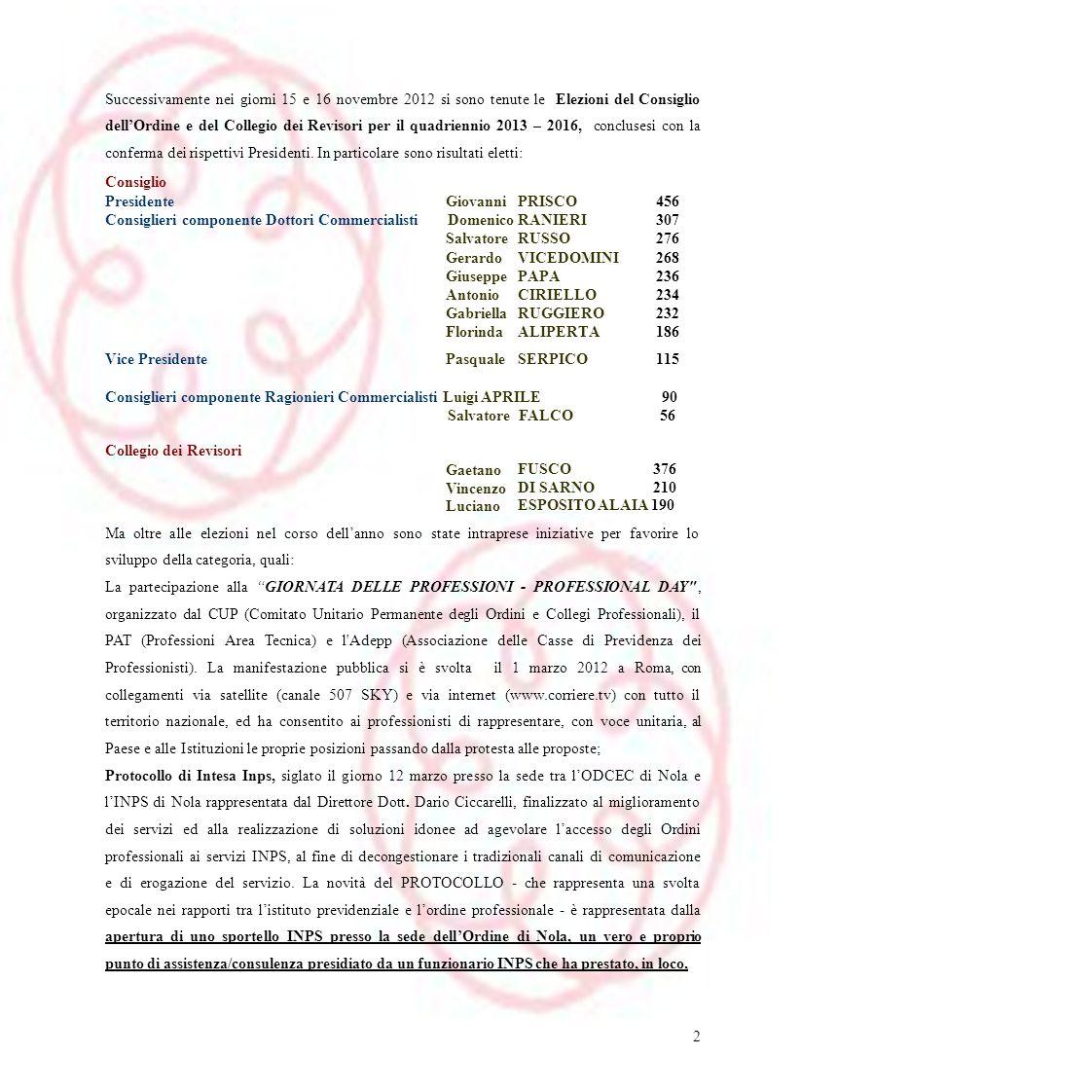 Successivamente nei giorni 15 e 16 novembre 2012 si sono tenute le Elezioni del Consiglio dell'Ordine e del Collegio dei Revisori per il quadriennio 2013 – 2016, conclusesi con la conferma dei rispettivi Presidenti. In particolare sono risultati eletti:
