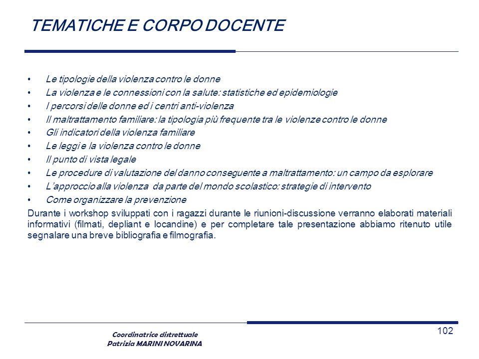 TEMATICHE E CORPO DOCENTE