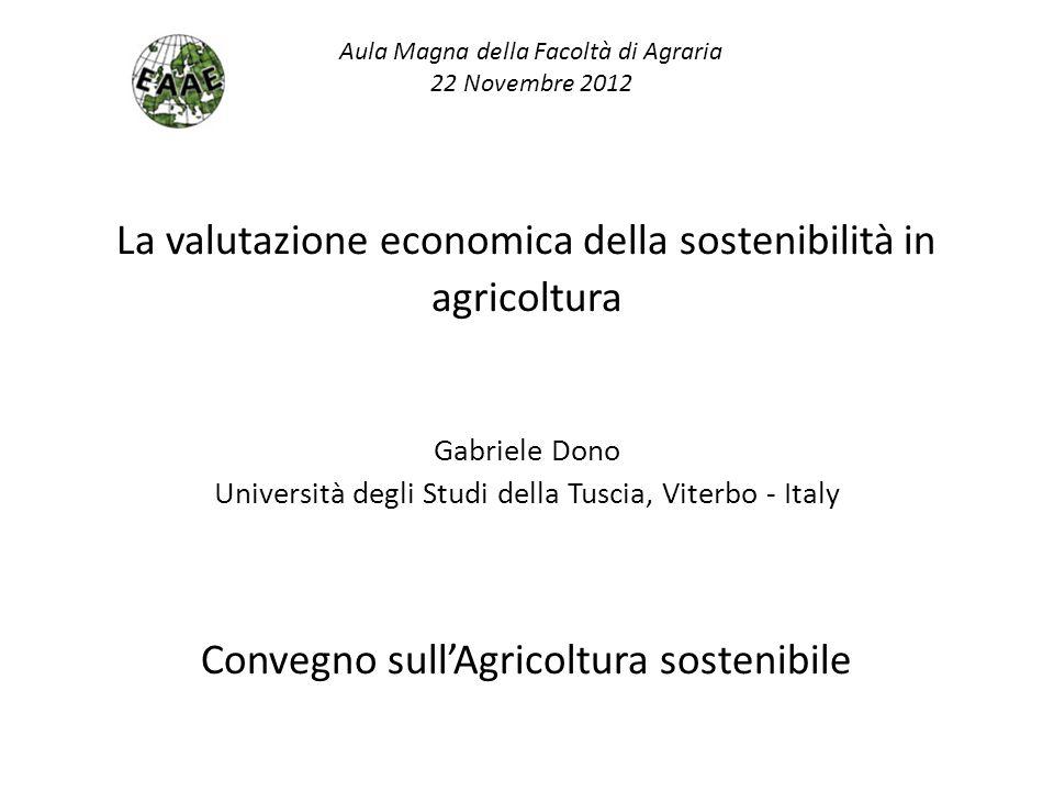 La valutazione economica della sostenibilità in agricoltura