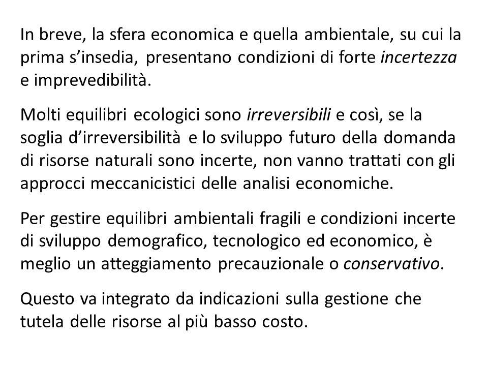 In breve, la sfera economica e quella ambientale, su cui la prima s'insedia, presentano condizioni di forte incertezza e imprevedibilità.