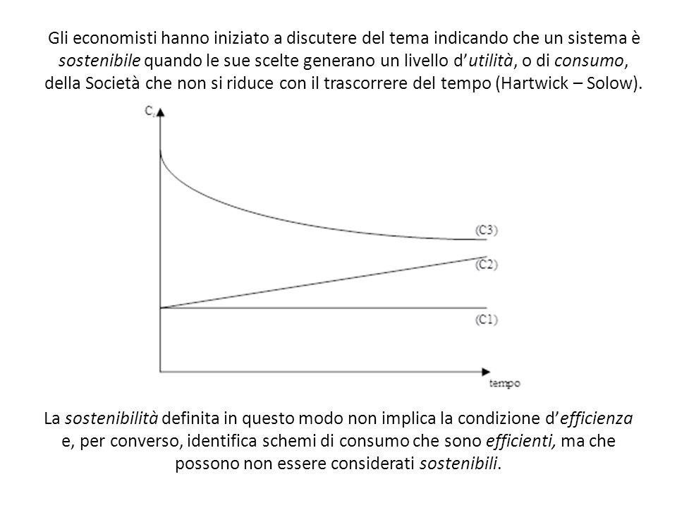 Gli economisti hanno iniziato a discutere del tema indicando che un sistema è sostenibile quando le sue scelte generano un livello d'utilità, o di consumo, della Società che non si riduce con il trascorrere del tempo (Hartwick – Solow).
