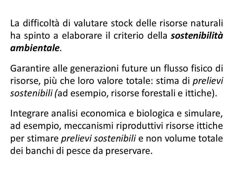 La difficoltà di valutare stock delle risorse naturali ha spinto a elaborare il criterio della sostenibilità ambientale.