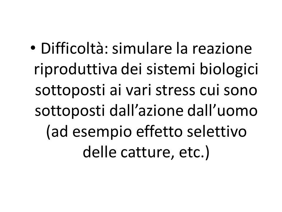 Difficoltà: simulare la reazione riproduttiva dei sistemi biologici sottoposti ai vari stress cui sono sottoposti dall'azione dall'uomo (ad esempio effetto selettivo delle catture, etc.)