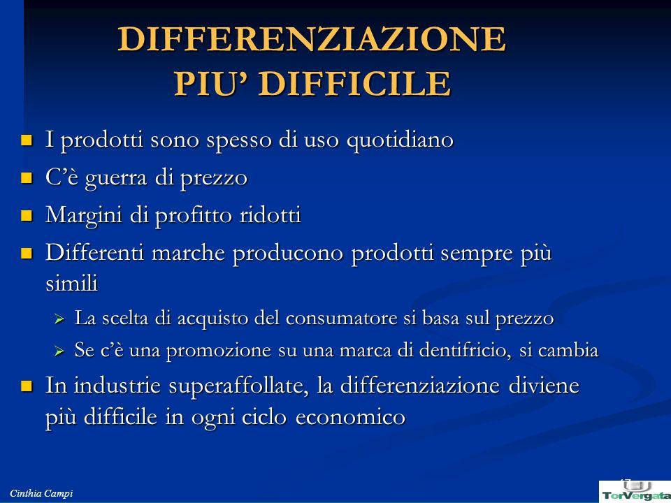 DIFFERENZIAZIONE PIU' DIFFICILE