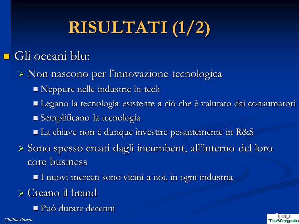 RISULTATI (1/2) Gli oceani blu: