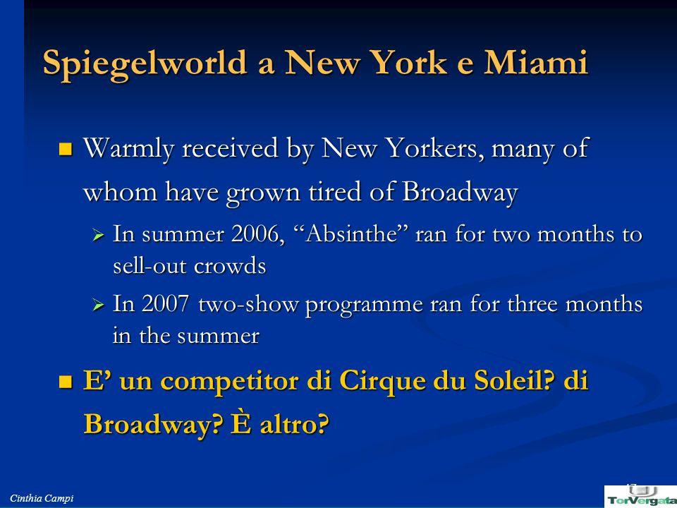 Spiegelworld a New York e Miami