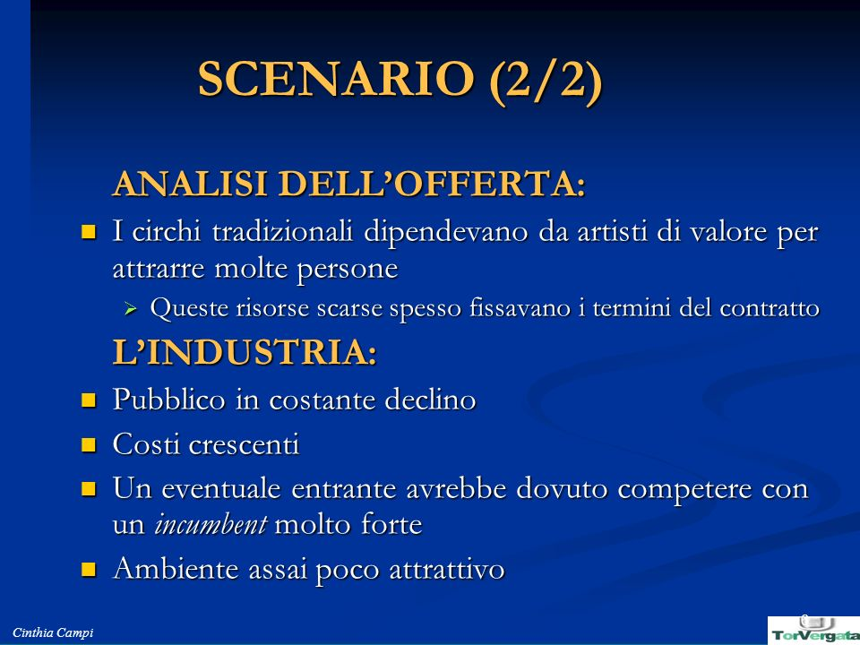 SCENARIO (2/2) L'INDUSTRIA: ANALISI DELL'OFFERTA: