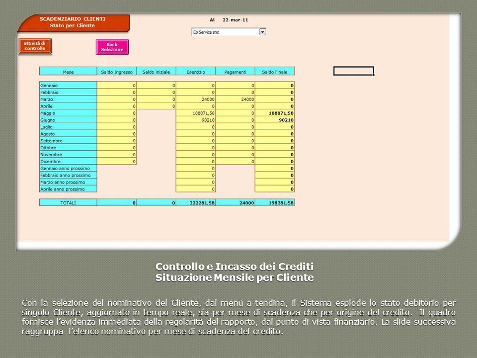 Controllo e Incasso dei Crediti Situazione Mensile per Cliente