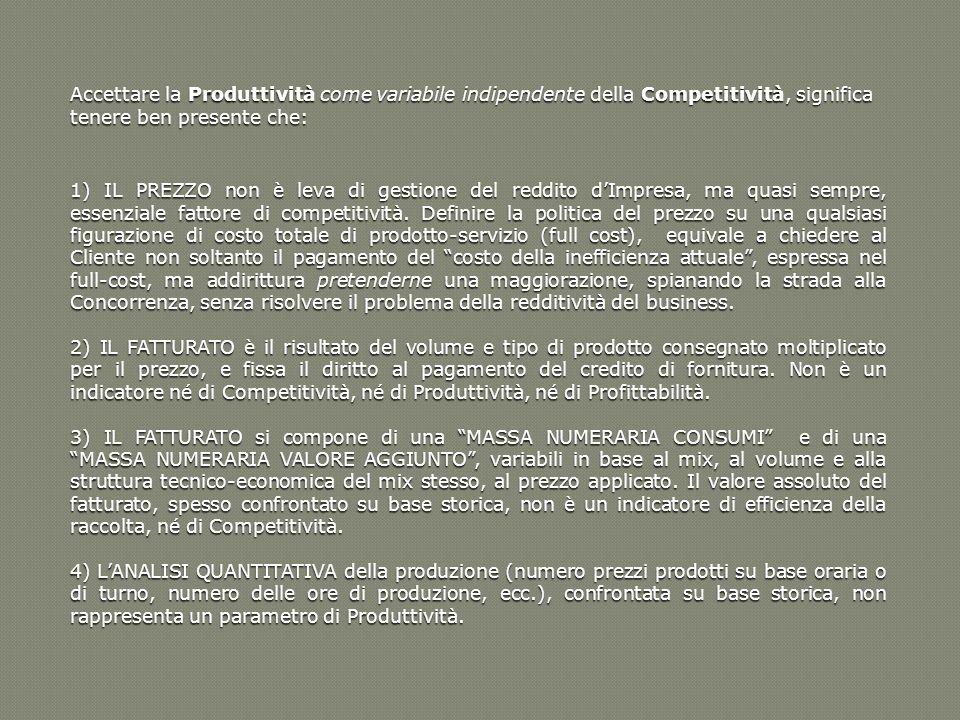 Accettare la Produttività come variabile indipendente della Competitività, significa tenere ben presente che: