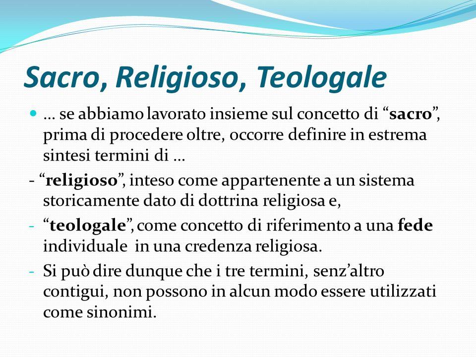Sacro, Religioso, Teologale